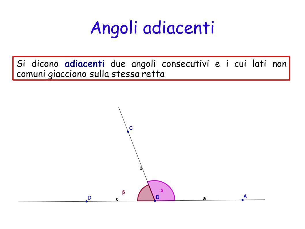 Angoli opposti al vertice Due angoli si dicono opposti al vertice se hanno il vertice in comune e se i suoi lati si trovano uno sul prolungamento dellaltro.