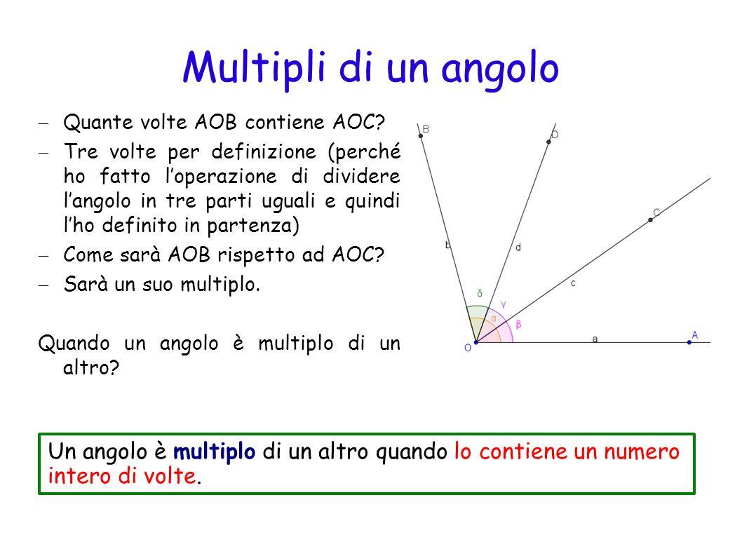 Angoli complementari Consideriamo due angoli AOB e CKD e proviamo a sommare questi due angoli Dalla somma è uscito un angolo retto Due angoli si dicono complementari se la loro somma è un angolo retto.
