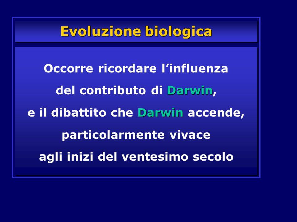 Evoluzione biologica Darwin Darwin Occorre ricordare linfluenza del contributo di Darwin, e il dibattito che Darwin accende, particolarmente vivace ag