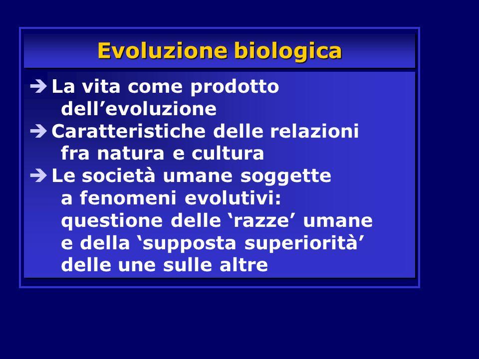 Evoluzione biologica La vita come prodotto dellevoluzione Caratteristiche delle relazioni fra natura e cultura Le società umane soggette a fenomeni ev