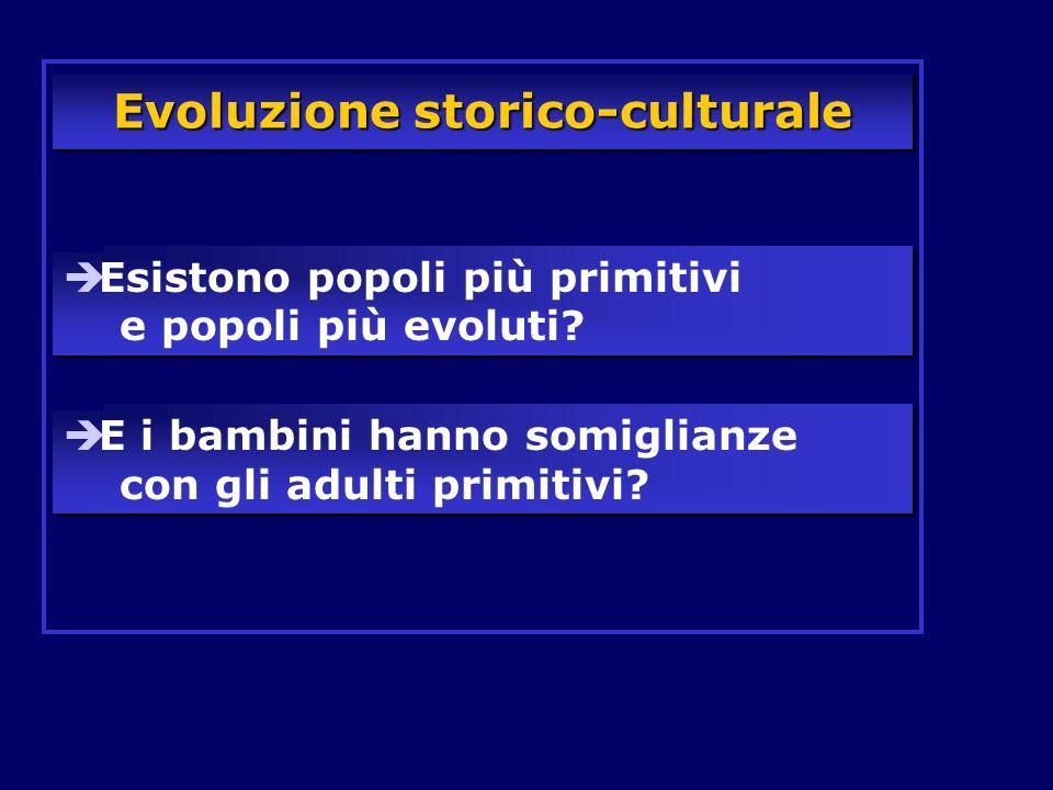 Evoluzione storico-culturale Esistono popoli più primitivi e popoli più evoluti? E i bambini hanno somiglianze con gli adulti primitivi?