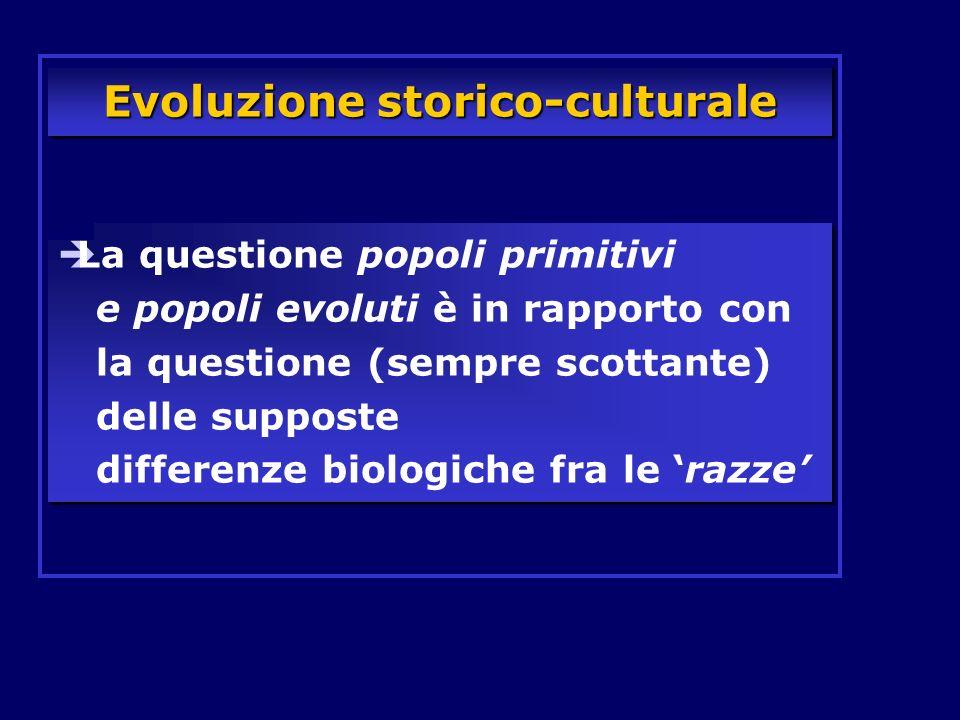 Evoluzione storico-culturale La questione popoli primitivi e popoli evoluti è in rapporto con la questione (sempre scottante) delle supposte differenz