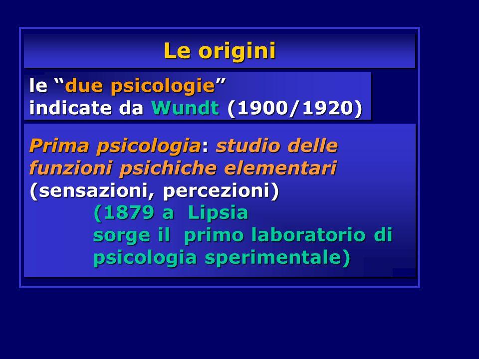 le due psicologie indicate da Wundt (1900/1920) Prima psicologia: studio delle funzioni psichiche elementari (sensazioni, percezioni) (1879 a Lipsia s