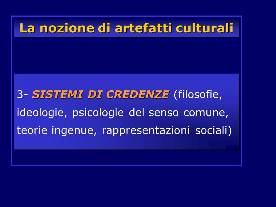 La nozione di artefatti culturali SISTEMI DI CREDENZE 3- SISTEMI DI CREDENZE (filosofie, ideologie, psicologie del senso comune, teorie ingenue, rappr