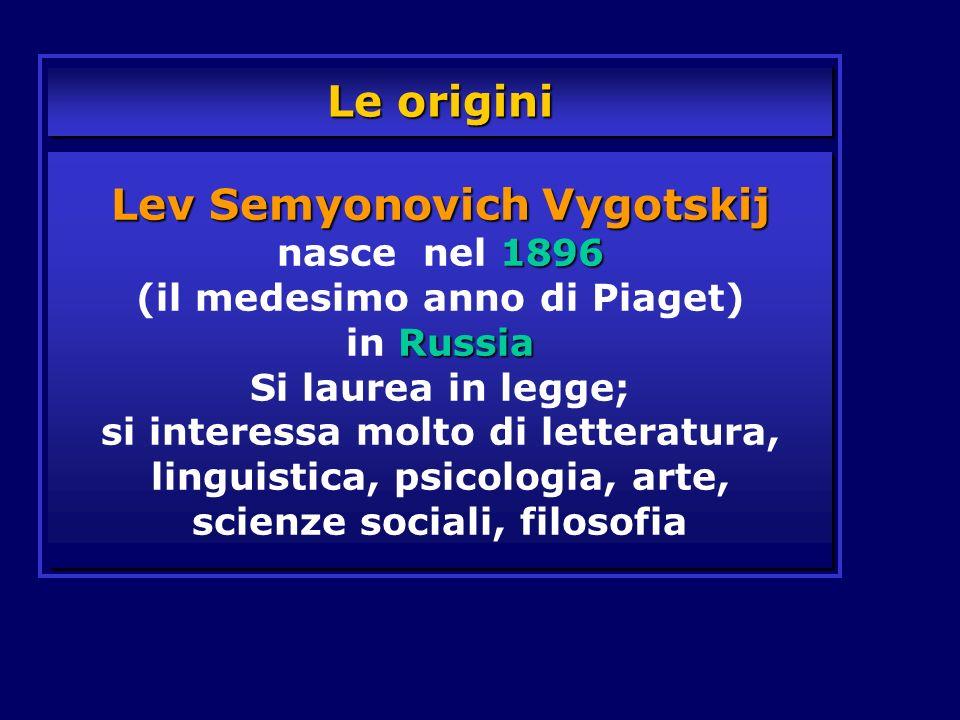Le origini Lev Semyonovich Vygotskij 1896 Russia Lev Semyonovich Vygotskij nasce nel 1896 (il medesimo anno di Piaget) in Russia Si laurea in legge; s