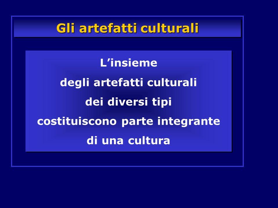 Gli artefatti culturali Linsieme degli artefatti culturali dei diversi tipi costituiscono parte integrante di una cultura