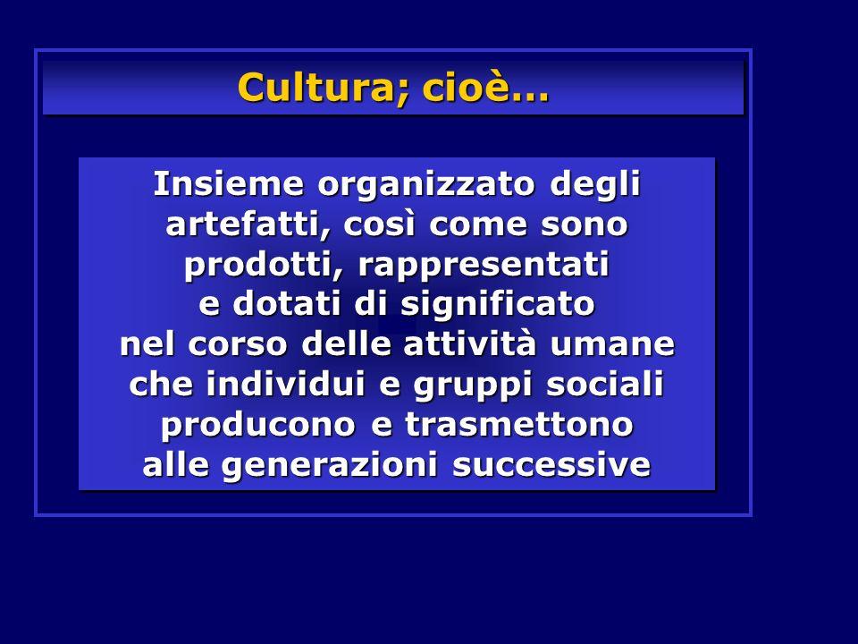 Cultura; cioè… Insieme organizzato degli artefatti, così come sono prodotti, rappresentati e dotati di significato nel corso delle attività umane che