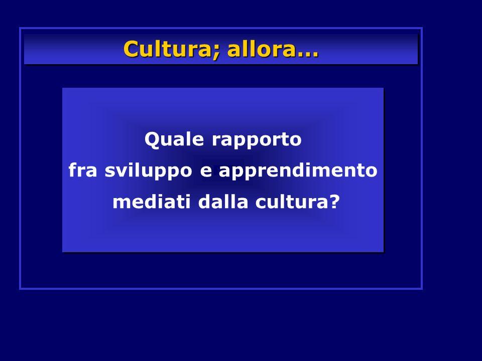 Cultura; allora… Quale rapporto fra sviluppo e apprendimento mediati dalla cultura? Quale rapporto fra sviluppo e apprendimento mediati dalla cultura?