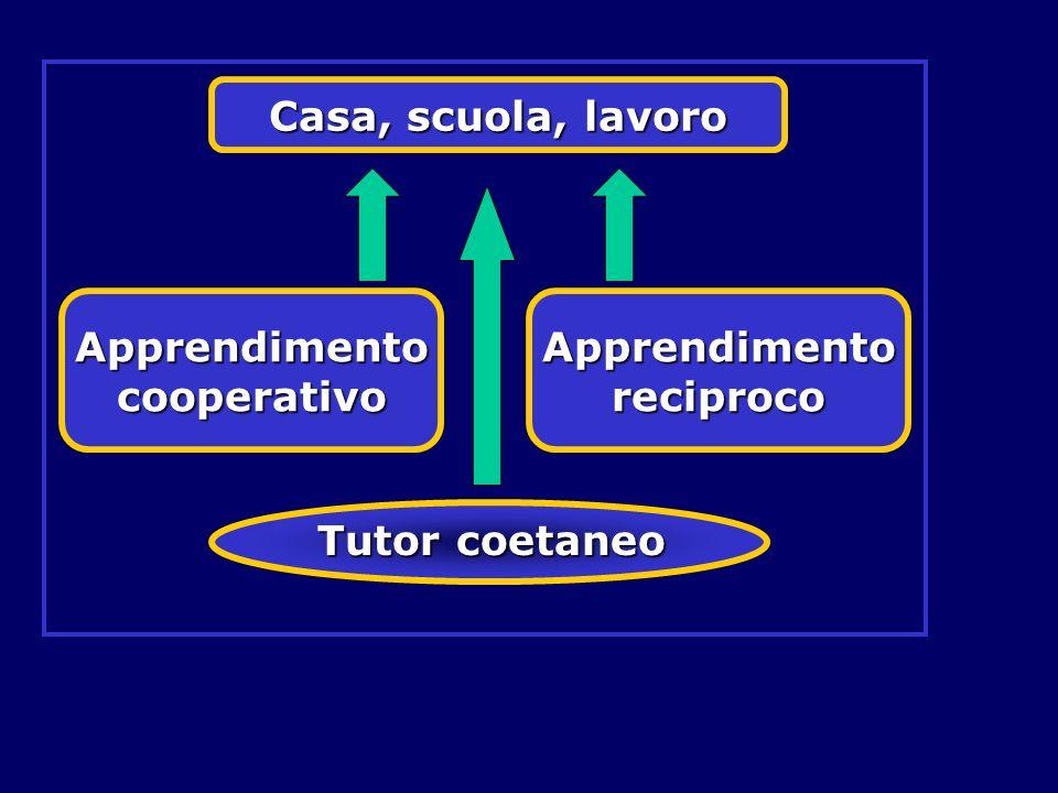 Tutor coetaneo Casa, scuola, lavoro Apprendimento cooperativo Apprendimento reciproco