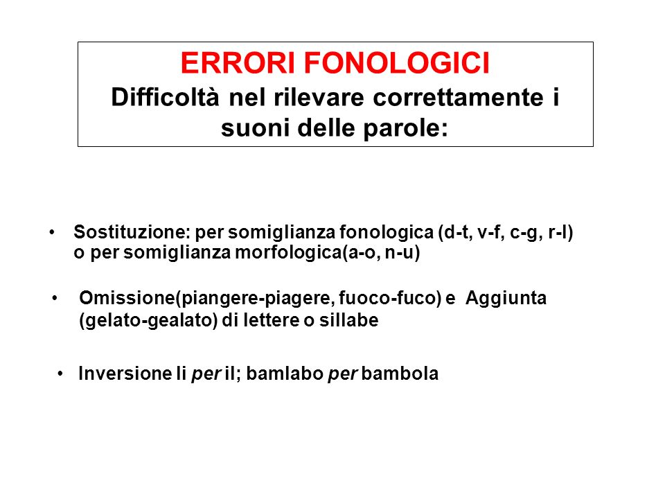 Sostituzione: per somiglianza fonologica (d-t, v-f, c-g, r-l) o per somiglianza morfologica(a-o, n-u) ERRORI FONOLOGICI Difficoltà nel rilevare corret
