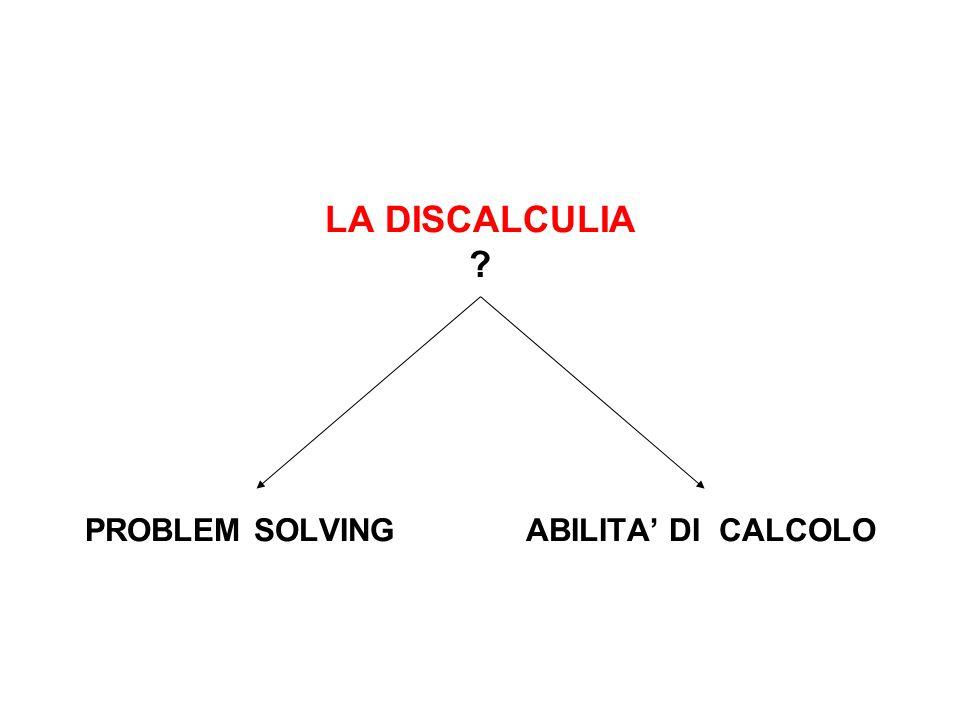 LA DISCALCULIA ? PROBLEM SOLVING ABILITA DI CALCOLO