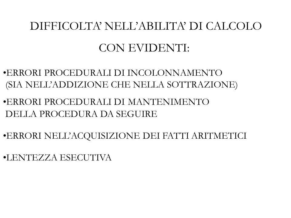 DIFFICOLTA NELLABILITA DI CALCOLO CON EVIDENTI: ERRORI PROCEDURALI DI INCOLONNAMENTO (SIA NELLADDIZIONE CHE NELLA SOTTRAZIONE) ERRORI PROCEDURALI DI M