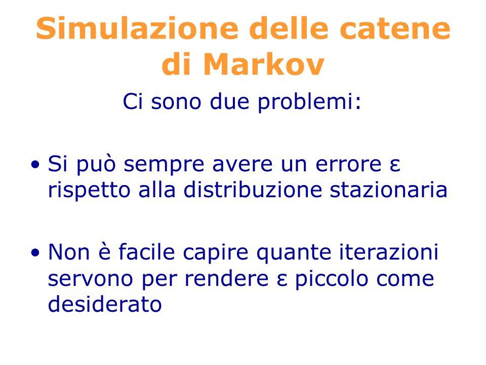 Simulazione delle catene di Markov Ci sono due problemi: Si può sempre avere un errore ε rispetto alla distribuzione stazionaria Non è facile capire quante iterazioni servono per rendere ε piccolo come desiderato