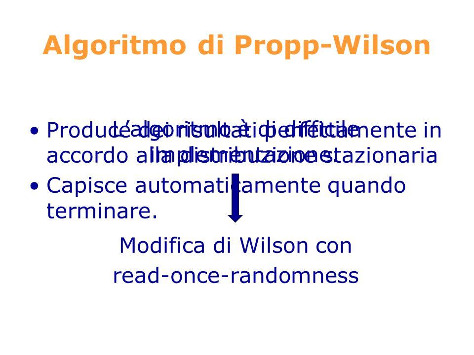 Algoritmo di Propp-Wilson Produce dei risultati perfettamente in accordo alla distribuzione stazionaria Capisce automaticamente quando terminare.