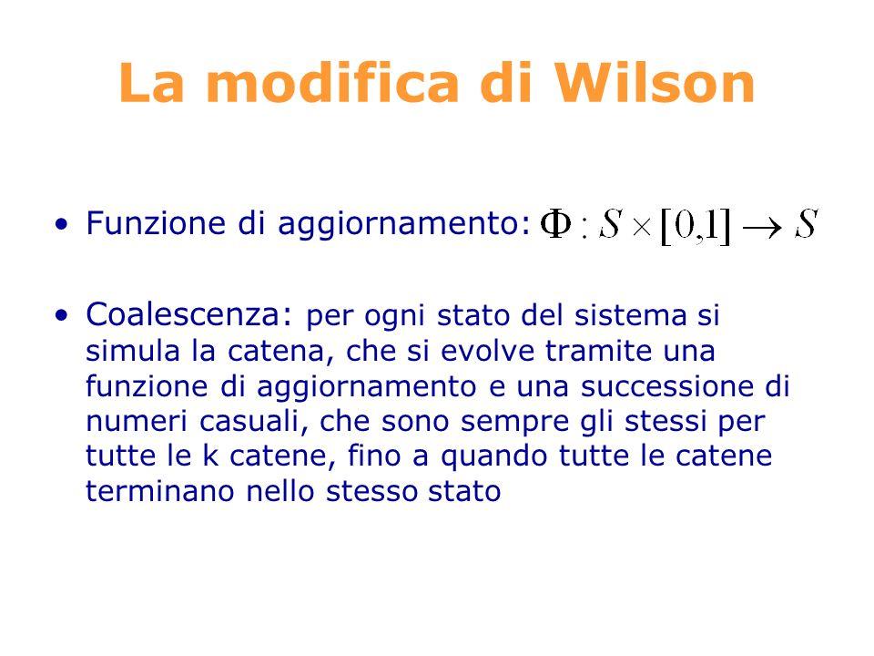 La modifica di Wilson Funzione di aggiornamento: Coalescenza: per ogni stato del sistema si simula la catena, che si evolve tramite una funzione di aggiornamento e una successione di numeri casuali, che sono sempre gli stessi per tutte le k catene, fino a quando tutte le catene terminano nello stesso stato