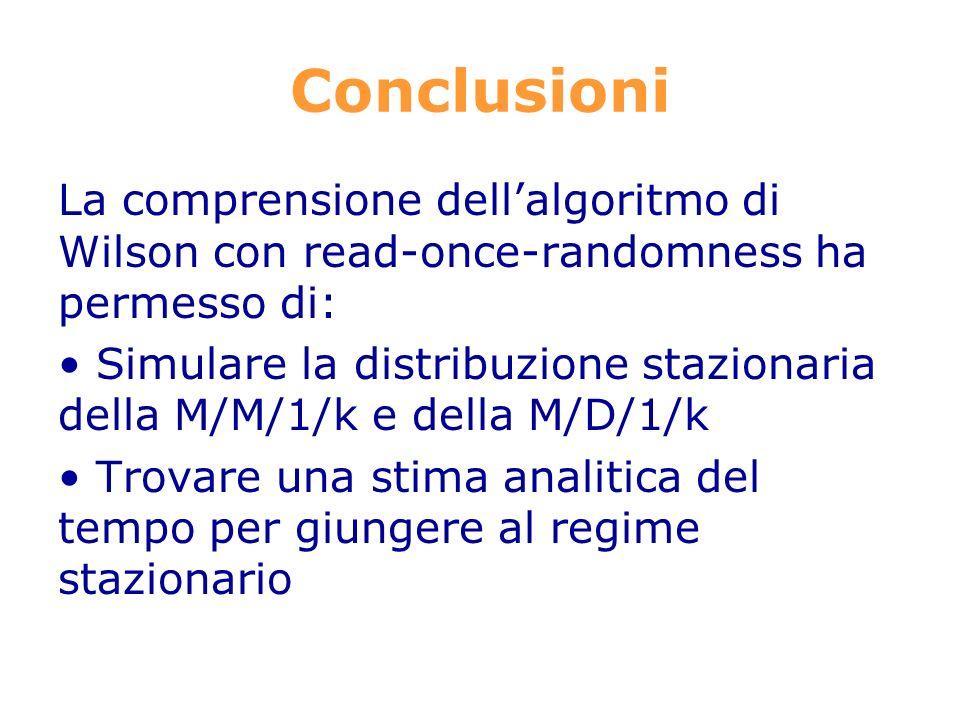 Conclusioni La comprensione dellalgoritmo di Wilson con read-once-randomness ha permesso di: Simulare la distribuzione stazionaria della M/M/1/k e della M/D/1/k Trovare una stima analitica del tempo per giungere al regime stazionario