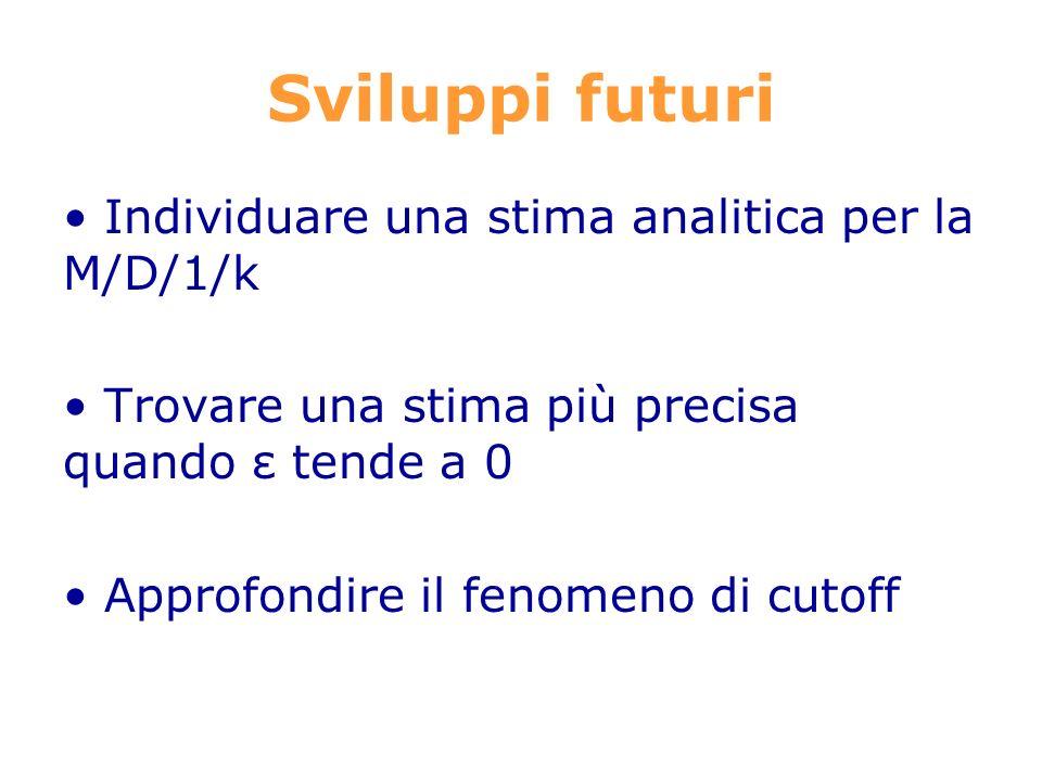 Sviluppi futuri Individuare una stima analitica per la M/D/1/k Trovare una stima più precisa quando ε tende a 0 Approfondire il fenomeno di cutoff