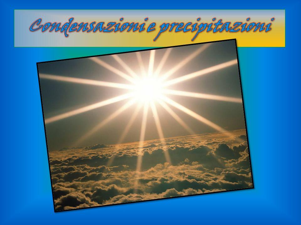 Processo e condizioni di condensazione Durante la condensazione il vapor acqueo nellatmosfera passa allo stato liquido liberando il calore latente di evaporazione pari a circa 600 Kcal/kg.
