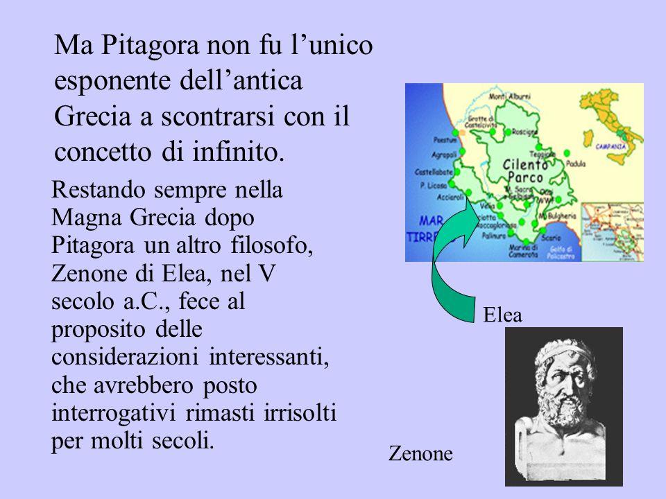Ma Pitagora non fu lunico esponente dellantica Grecia a scontrarsi con il concetto di infinito. Elea Zenone Restando sempre nella Magna Grecia dopo Pi