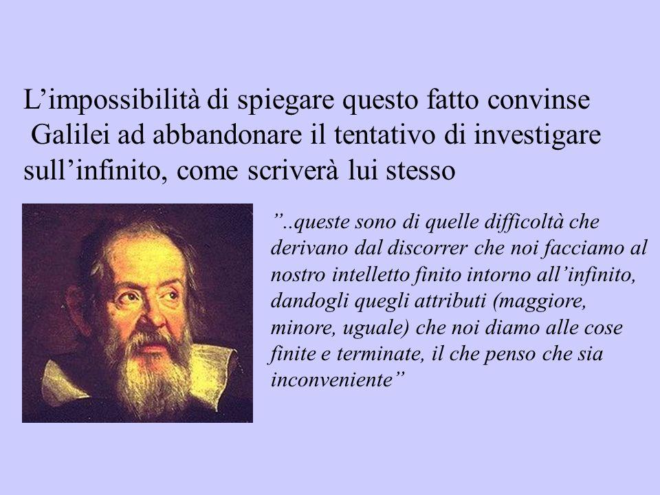 Limpossibilità di spiegare questo fatto convinse Galilei ad abbandonare il tentativo di investigare sullinfinito, come scriverà lui stesso..queste son