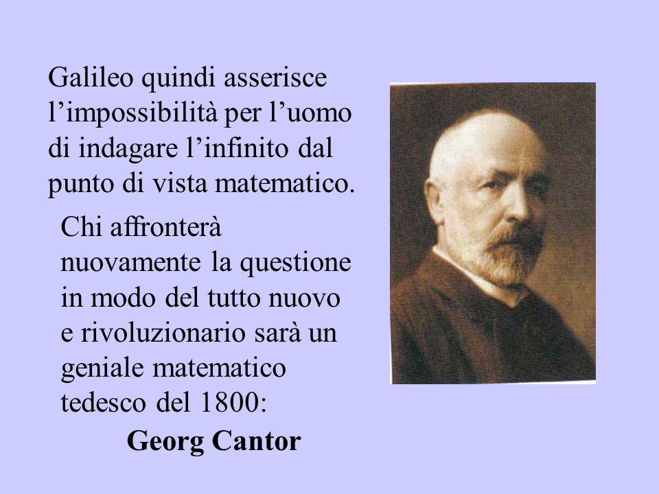 Galileo quindi asserisce limpossibilità per luomo di indagare linfinito dal punto di vista matematico. Chi affronterà nuovamente la questione in modo