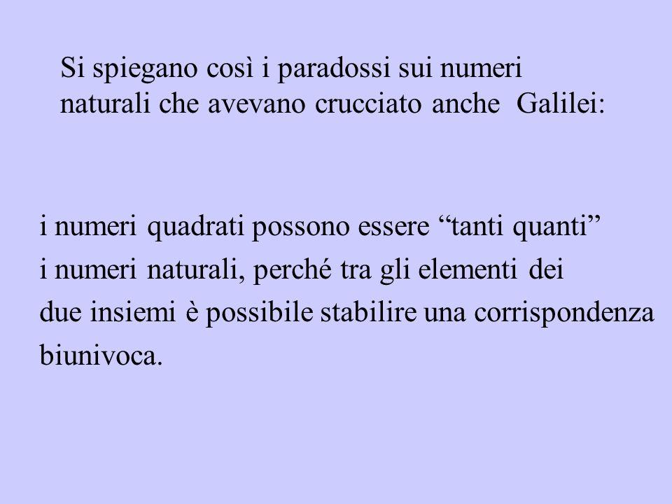 Si spiegano così i paradossi sui numeri naturali che avevano crucciato anche Galilei: i numeri quadrati possono essere tanti quanti i numeri naturali,