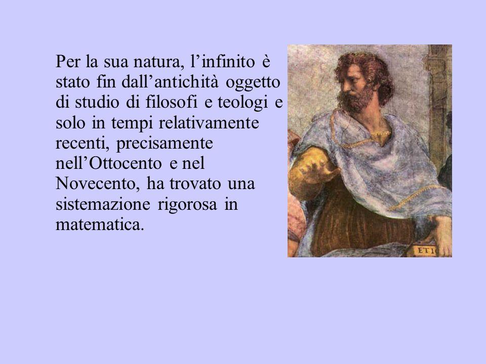 Eppure fin dai tempi dellantica Grecia i matematici si erano accorti che non si poteva far a meno di imbattersi nellinfinito anche quando si trattava di questioni matematiche apparentemente molto concrete e finite, quali ad esempio quelle geometriche.