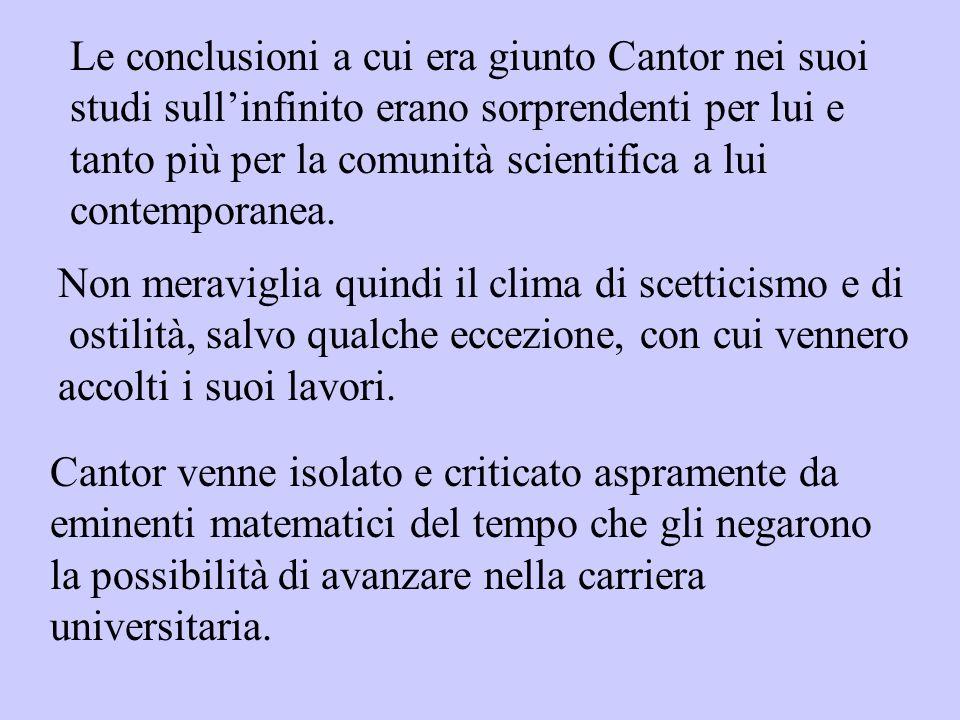 Le conclusioni a cui era giunto Cantor nei suoi studi sullinfinito erano sorprendenti per lui e tanto più per la comunità scientifica a lui contempora
