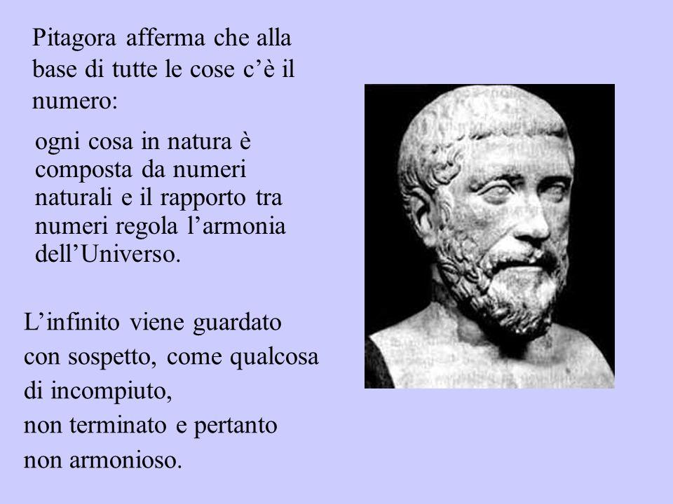 Pitagora afferma che alla base di tutte le cose cè il numero: Linfinito viene guardato con sospetto, come qualcosa di incompiuto, non terminato e pert
