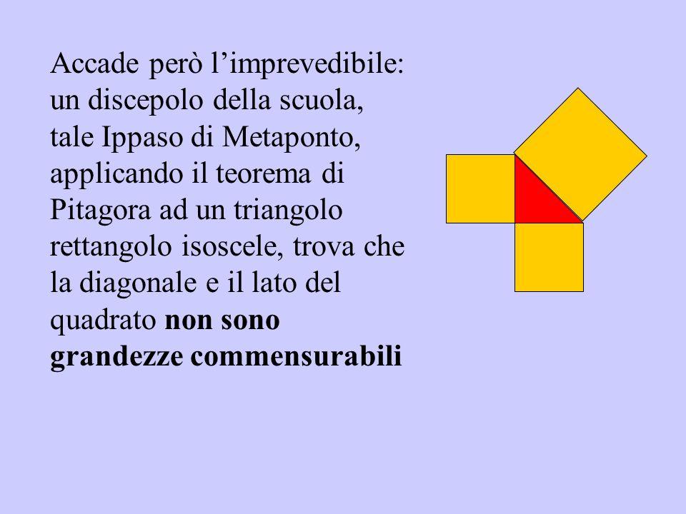Accade però limprevedibile: un discepolo della scuola, tale Ippaso di Metaponto, applicando il teorema di Pitagora ad un triangolo rettangolo isoscele