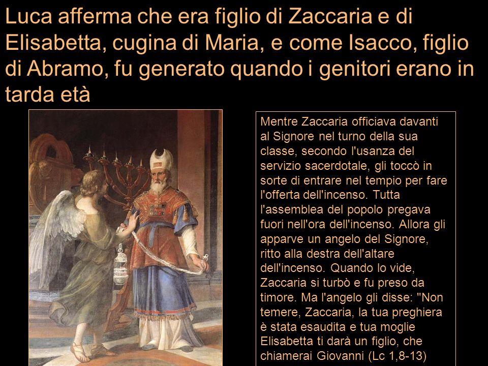 Mentre Zaccaria officiava davanti al Signore nel turno della sua classe, secondo l'usanza del servizio sacerdotale, gli toccò in sorte di entrare nel