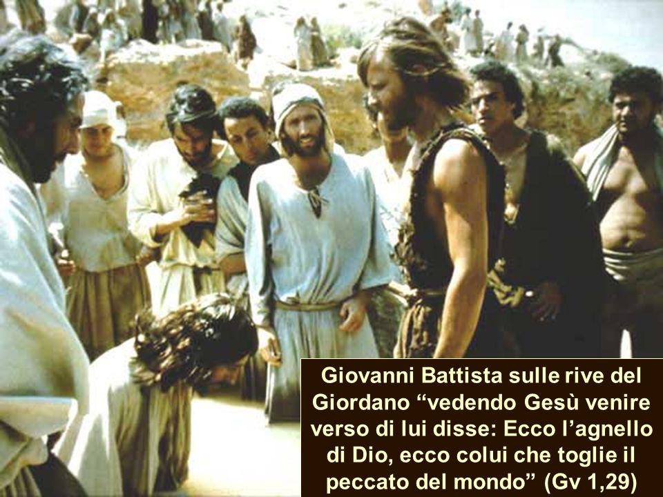 Giovanni Battista sulle rive del Giordano vedendo Gesù venire verso di lui disse: Ecco lagnello di Dio, ecco colui che toglie il peccato del mondo (Gv