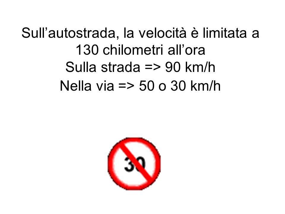 Sullautostrada, la velocità è limitata a 130 chilometri allora Sulla strada => 90 km/h Nella via => 50 o 30 km/h