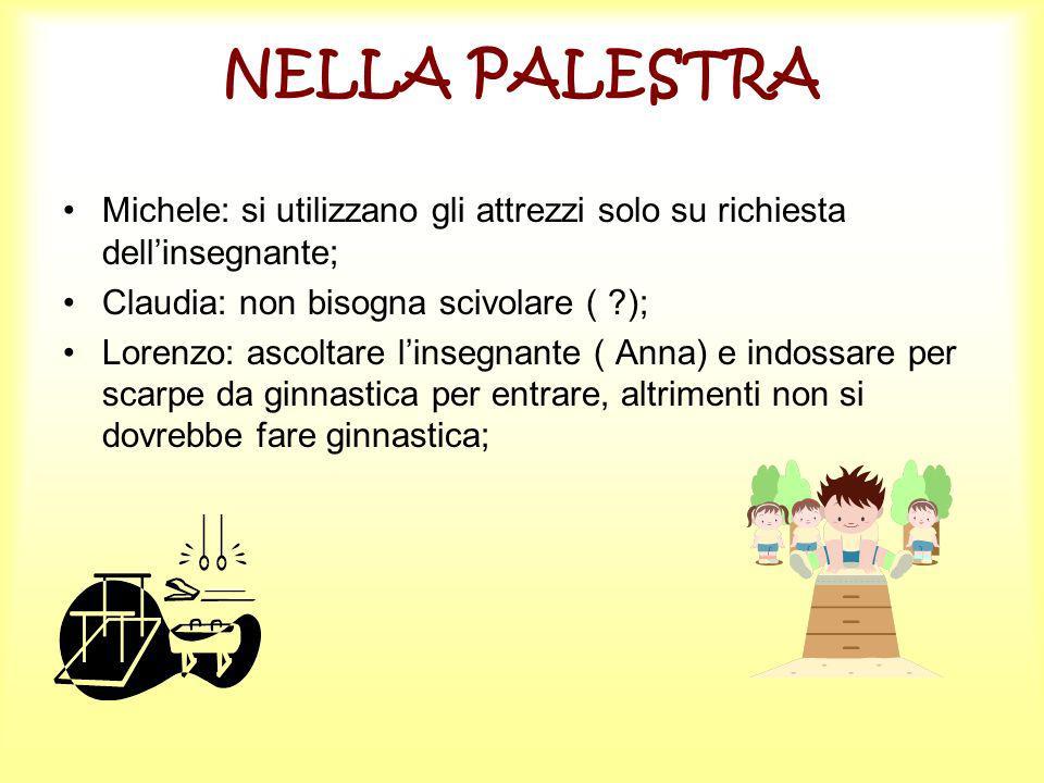 NELLA PALESTRA Michele: si utilizzano gli attrezzi solo su richiesta dellinsegnante; Claudia: non bisogna scivolare ( ?); Lorenzo: ascoltare linsegnan