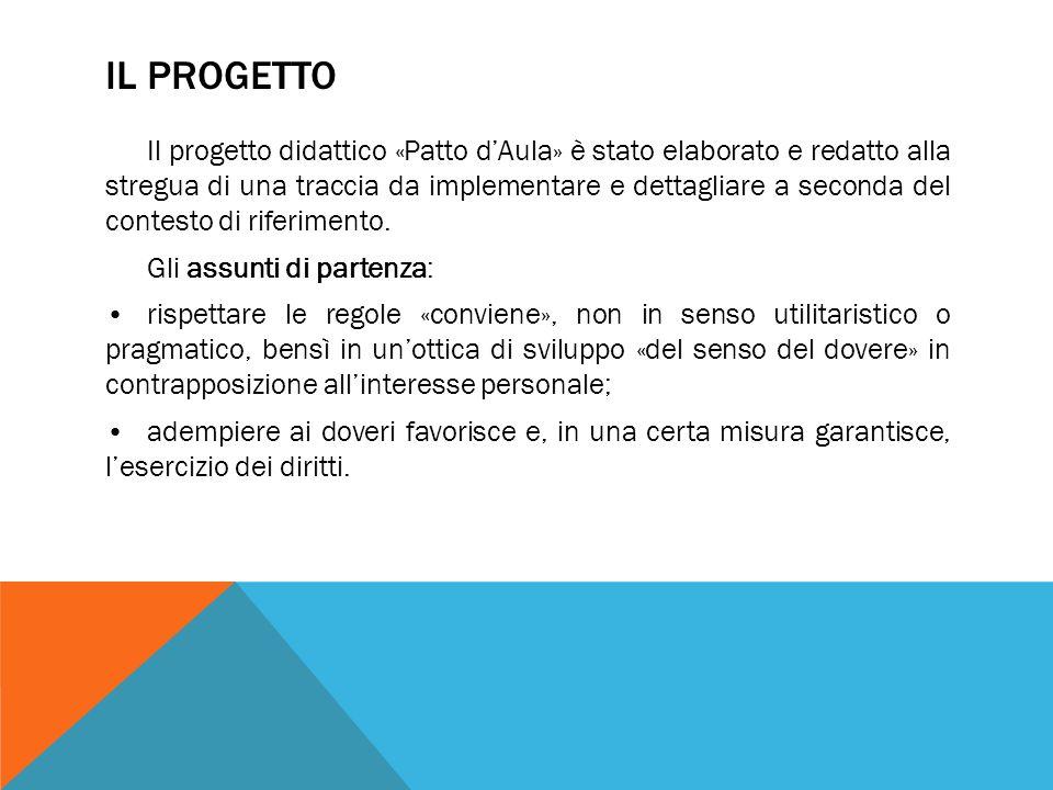 IL PROGETTO Il progetto didattico «Patto dAula» è stato elaborato e redatto alla stregua di una traccia da implementare e dettagliare a seconda del co