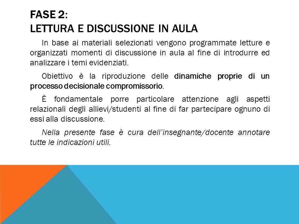 FASE 2: LETTURA E DISCUSSIONE IN AULA In base ai materiali selezionati vengono programmate letture e organizzati momenti di discussione in aula al fin