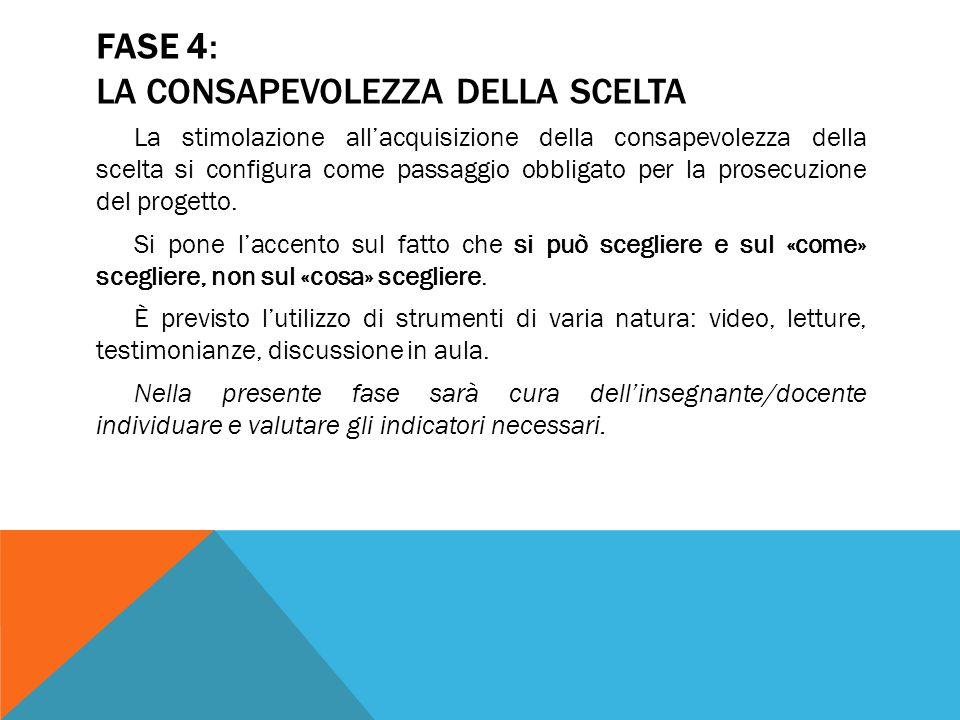 FASE 4: LA CONSAPEVOLEZZA DELLA SCELTA La stimolazione allacquisizione della consapevolezza della scelta si configura come passaggio obbligato per la
