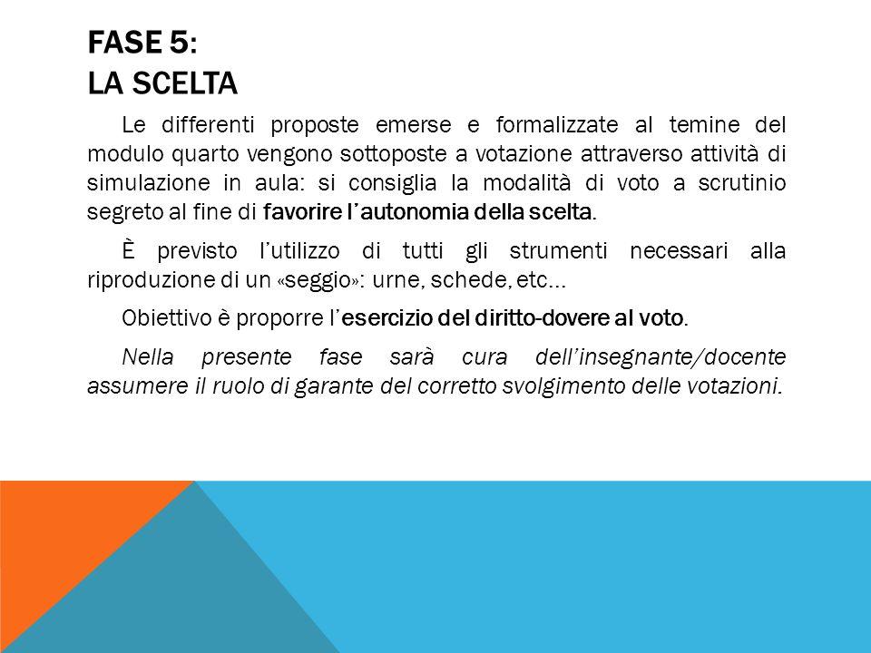FASE 5: LA SCELTA Le differenti proposte emerse e formalizzate al temine del modulo quarto vengono sottoposte a votazione attraverso attività di simul