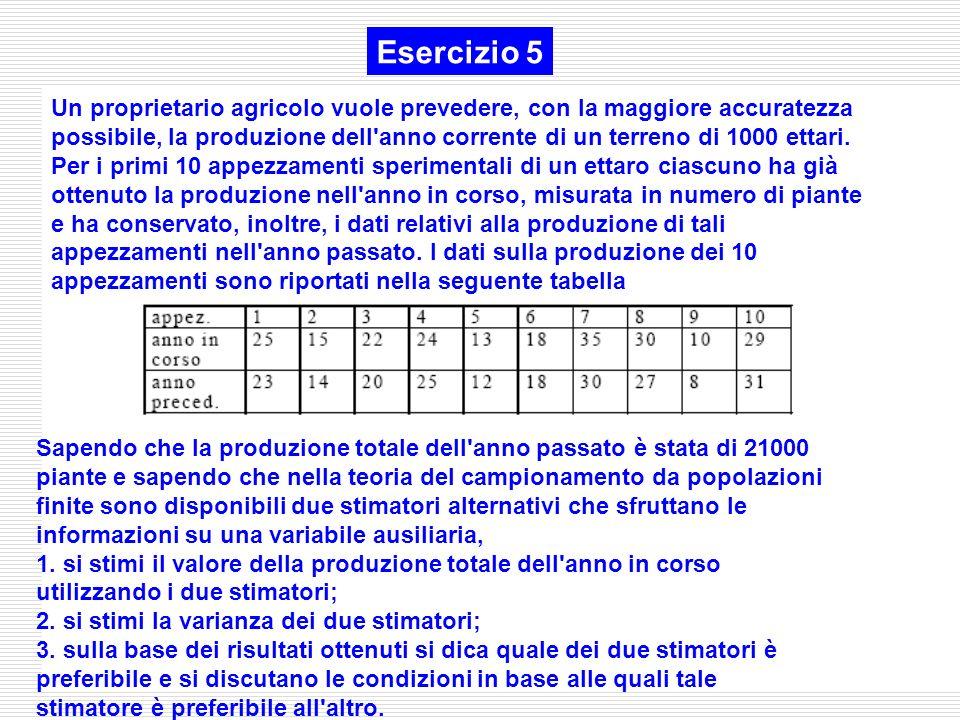Esercizio 5 Un proprietario agricolo vuole prevedere, con la maggiore accuratezza possibile, la produzione dell'anno corrente di un terreno di 1000 et