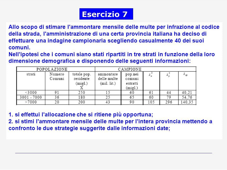 Allo scopo di stimare l'ammontare mensile delle multe per infrazione al codice della strada, l'amministrazione di una certa provincia italiana ha deci