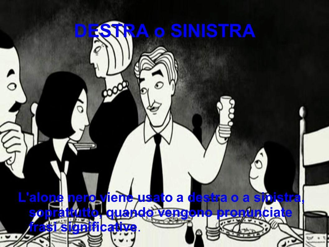 DESTRA o SINISTRA L'alone nero viene usato a destra o a sinistra, soprattutto, quando vengono pronunciate frasi significative.