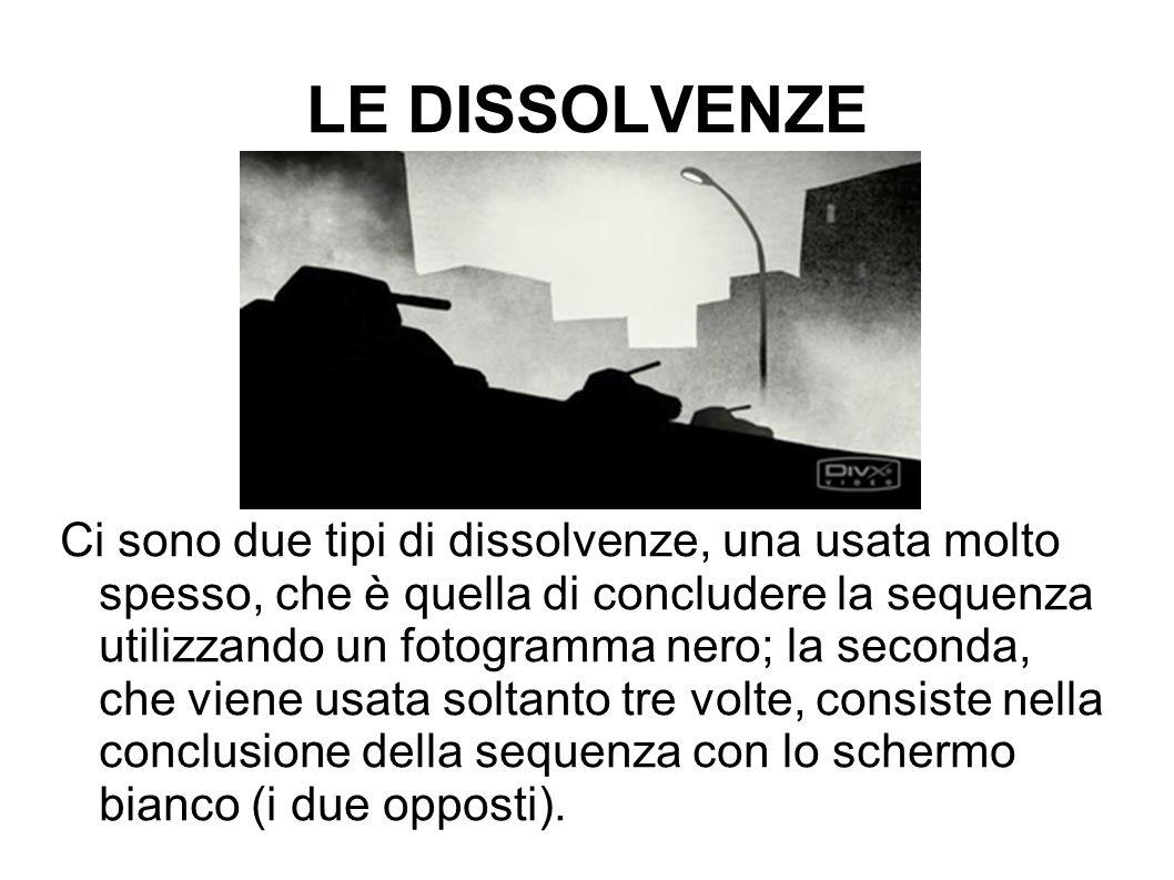 LE DISSOLVENZE Ci sono due tipi di dissolvenze, una usata molto spesso, che è quella di concludere la sequenza utilizzando un fotogramma nero; la seco