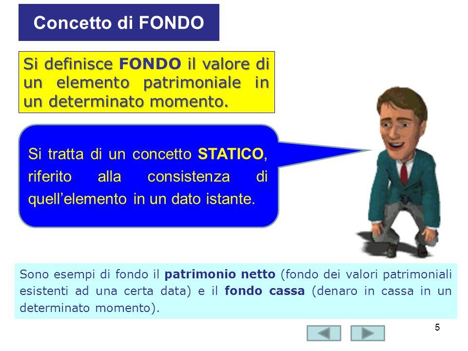 6 Il FLUSSO è la variazione in aumento o in diminuzione intervenuta in un fondo in un determinato periodo di tempo Concetto di FLUSSO dinamico Si tratta quindi di un concetto dinamico, che fa riferimento ai movimenti di un elemento patrimoniale in un certo arco di tempo.