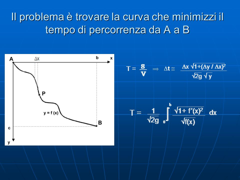 Il problema è trovare la curva che minimizzi il tempo di percorrenza da A a B t