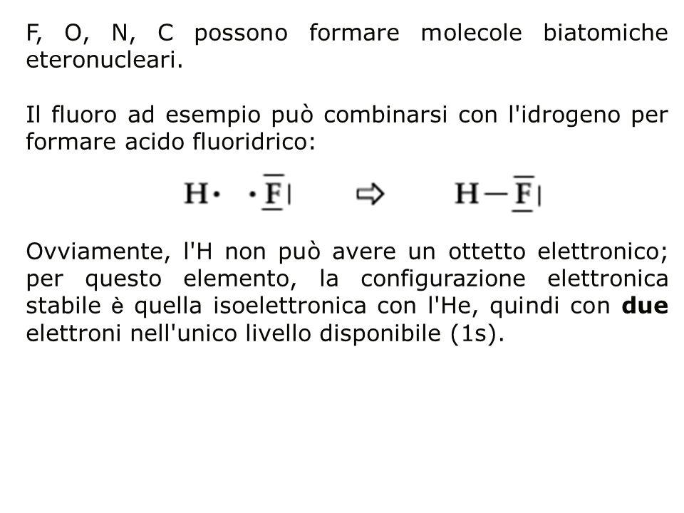 F, O, N, C possono formare molecole biatomiche eteronucleari. Il fluoro ad esempio può combinarsi con l'idrogeno per formare acido fluoridrico: Ovviam