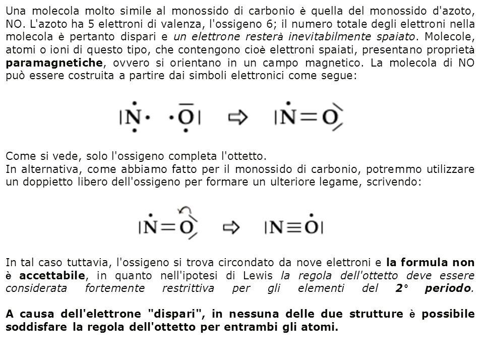 Una molecola molto simile al monossido di carbonio è quella del monossido d'azoto, NO. L'azoto ha 5 elettroni di valenza, l'ossigeno 6; il numero tota