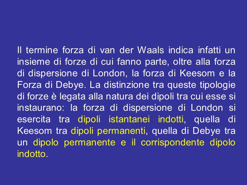 Il termine forza di van der Waals indica infatti un insieme di forze di cui fanno parte, oltre alla forza di dispersione di London, la forza di Keesom