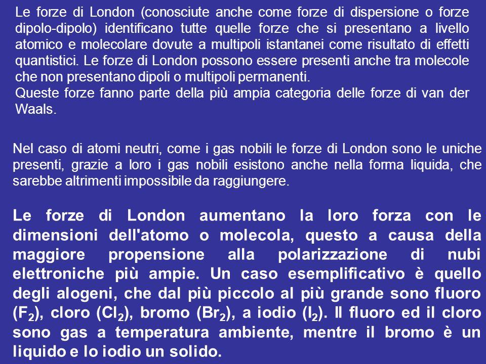 Le forze di London (conosciute anche come forze di dispersione o forze dipolo-dipolo) identificano tutte quelle forze che si presentano a livello atom