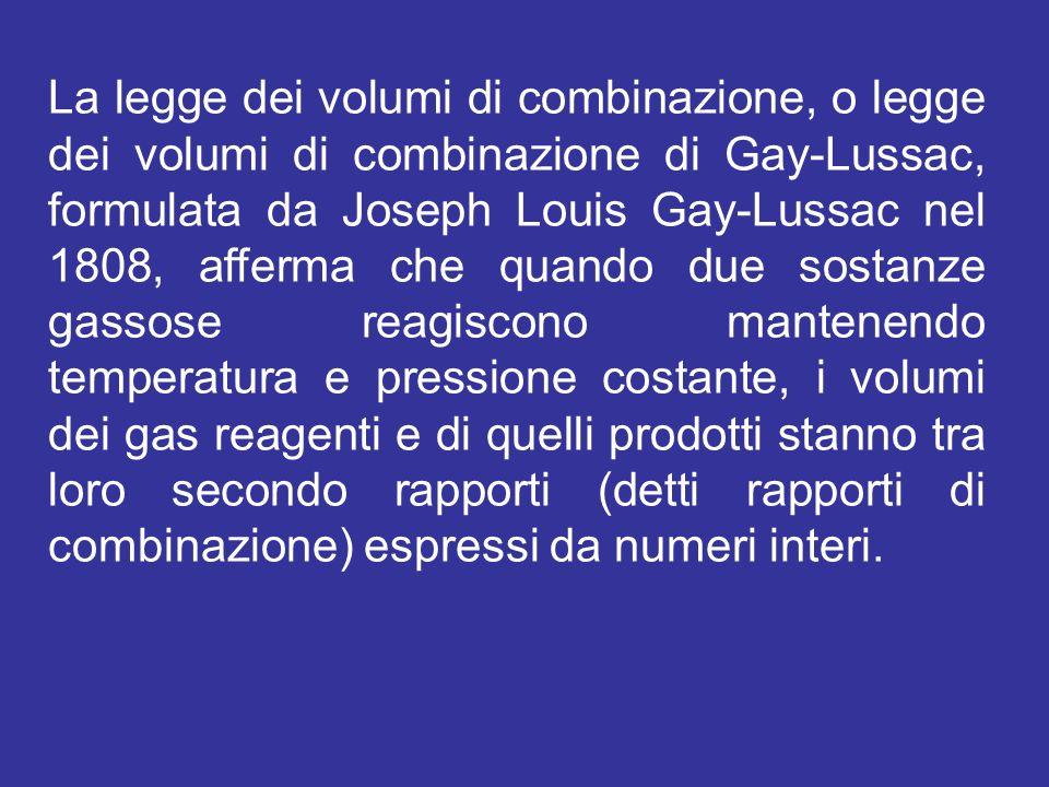 La legge dei volumi di combinazione, o legge dei volumi di combinazione di Gay-Lussac, formulata da Joseph Louis Gay-Lussac nel 1808, afferma che quan