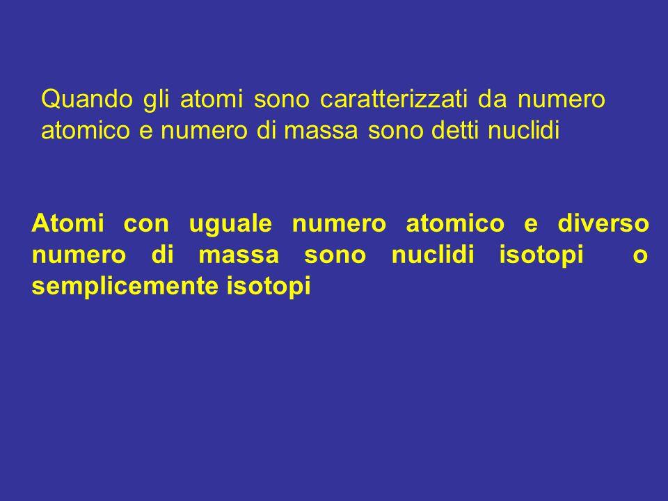 Atomi con uguale numero atomico e diverso numero di massa sono nuclidi isotopi o semplicemente isotopi Quando gli atomi sono caratterizzati da numero